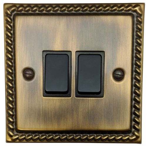 G&H MAB2B Monarch Roped Antique Bronze 2 Gang 1 or 2 Way Rocker Light Switch
